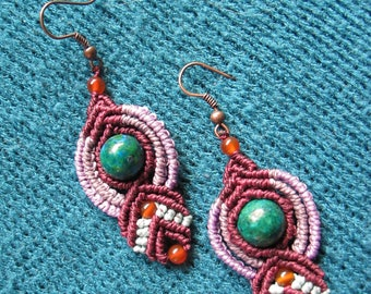 """Earrings """"COSMOS"""" Purple and blue bead macrame Chrysocolla and Agate Orange by TohyaArtisanat"""