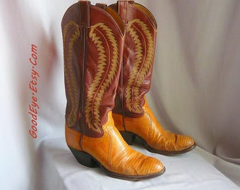 Vintage JUSTIN Lizard and Leather Western Boots / Women's Size 8 .5 Eu 39 Uk 6 / Flame Stitched Brown Tan / Mens Cowboy boot sz 7 .5 B