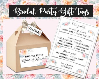 Bridal Party Gift Tags - Maid of Honor, Bridesmaids, Flower Girl, Ring Bearer