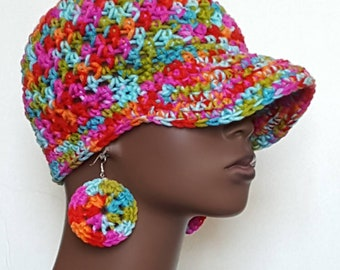 CLEARANCE Crochet Baseball Cap Hat with Earrings by Razonda Lee Razondalee Red Pink Blue Orange