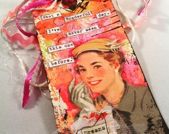Original Mixed Media Art Tag Ceville Designs Valentine's Day Dreams Ribbon Vintage Image