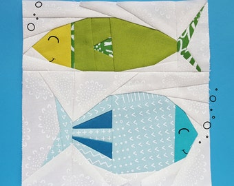 Funky Fishes Freddy and Ferdinand Paper piecing pattern - Quilt block pattern