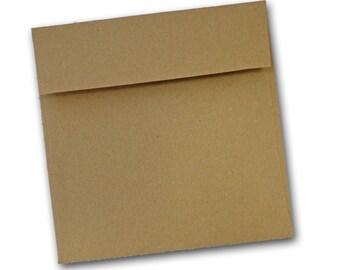 Brown Bag KRAFT  5.5 inch SQUARE  flap Envelopes 25 pack