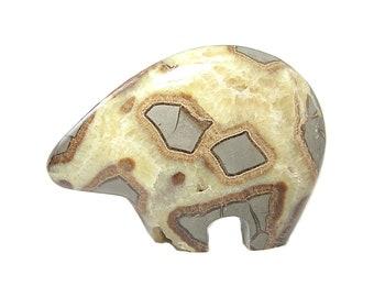 Septarian Bear Fetish Yellow calcite in gray Rock Matrix Semiprecious Gem Stone, Gemstone Carving Polished Animal Southwest American Motif