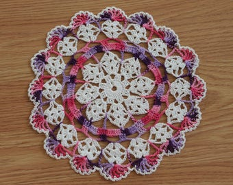 New Hand Crocheted Doily - white and girly girl multicolor