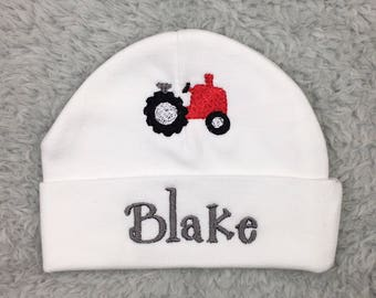 Personalized newborn hat with tractor - preemie tractor hat, micro preemie hat, NICU clothes, baby shower gift, newborn boy hat, baby boy