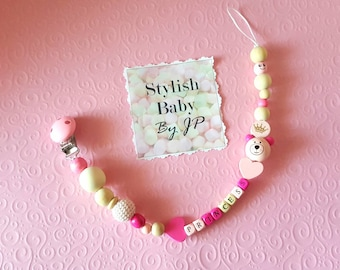 Baby girl Pacifier Clip. Baby Pacifier Holder. Baby Theething Toy. Baby shower gift. Newborn. FREE SHIPPING! 10% of sum will go to charity!