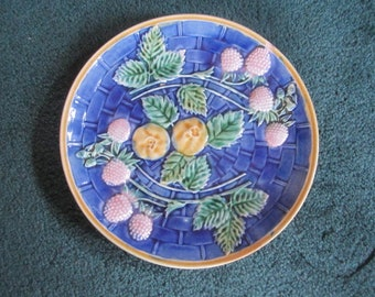 Antique Victorian Beautiful Majolica Etruscan Blue Basketweave Fruit Plate