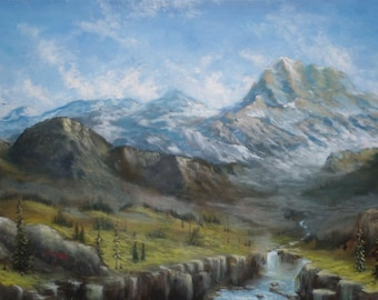 "Original Painting 50x100 cm Oil on canvas ""Mountain''"