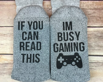 If You Can Read This Im Busy Gaming Socks, Funny Socks, Novelty Socks, Graduation Gift, Father's Day, Gift for Dad, Gift for Him