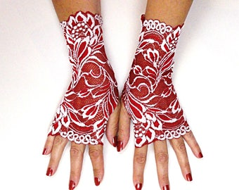Red Lace Gloves - Red White Fingerless Lace Gloves - Red Fingerless Gloves - Embroidered Lace Gloves - Red Lace Fingerless Gloves