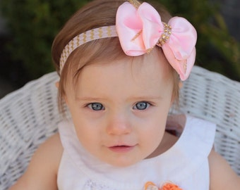 Pink and gold baby headband-pink and gold bow-pink and gold headband-gold baby headband-gold pink bow tie headband- gold bowtie bow-gold bow