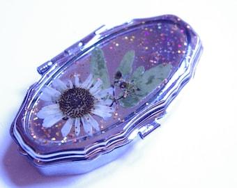 Pressed Flower Glitter Pill Box