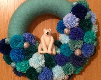 Winter polar bear pompom wreath