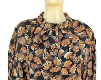 Pierre CARDIN Vintage shirt 1980's black patterned silk blouse