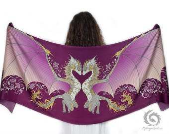 Pink Love Dragons Scarf - Magical guardian, Fairy dragon, Mystical creature, Cute dragons, Medieval festival accessory, Romantic shawl
