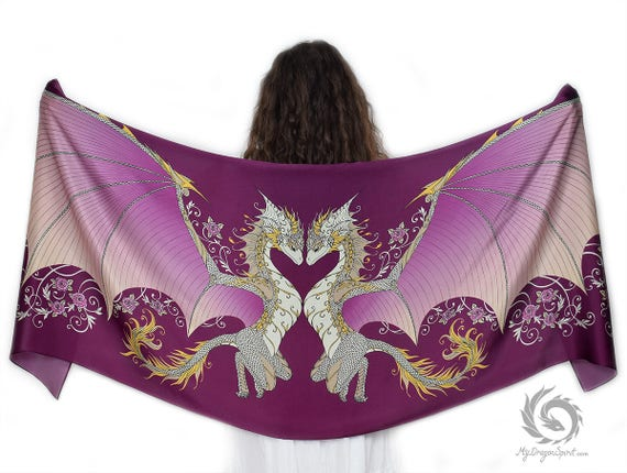 Pink Love Dragons Scarf