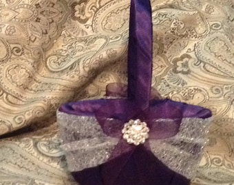 wedding flower girl basket dark purple and silver color custom made