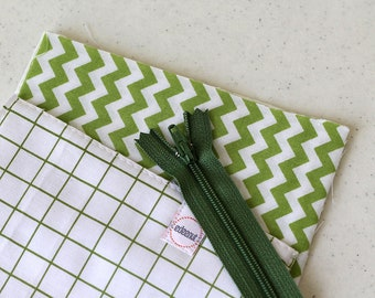 simple Cosmetic bag, zipper pouch, change purse, mini business card id holder, coin purse, small, cash envelope, kid wallet, green squares