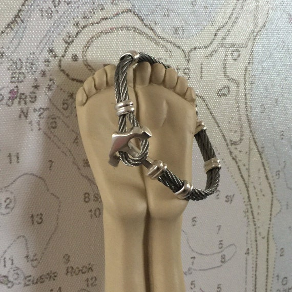 Anchor sterling silver and Stainless Steel Bracelet