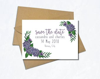 Save the Date Printable Card - Wedding Save the Date - Hydrangea