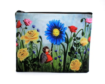 Pretty Weeds - Zipper Pouch - Girl with Bird Wings Climbing Latter to Blue Daisy in Field of Weeds and Roses - Art by Marcia Furman