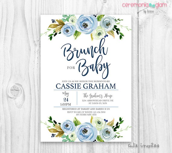 Baby shower boy brunch invitation floral blue baby shower boy