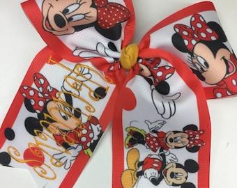 Large Monogram, Any Name, Hair Bow, Custom Bows, Girls Vacation, Minnie Gift, Boutique Tween, Mouse Birthday, Huge Ribbons, Detailed Trip
