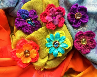 Crochet Flower Barrette Assorted