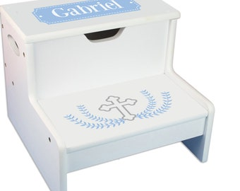 Personalized Cross Garland Light blue Childrens Step And Storage Stool