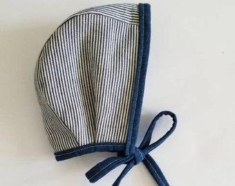 Denim Striped Bonnet
