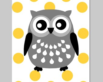 Polka Dot Owl - 8x10 Print - Nursery Art - CHOOSE YOUR COLORS - Shown in Yellow, Gray, and More