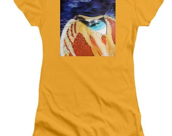cat tshirt,tabby cat top,womens orange tshirt,animal print top,cool cat tshirt,ladies cat shirt,small,medium,large,cat art top,cat blouse