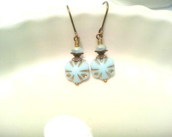 Blue Earrings Art Deco Earrings Beaded Earrings Simple Earrings Czech Earrings Flower Earrings Vintage Powder Blue Jewelry Ten Dollar Gift