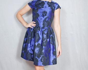 SALE Party Dress / Holiday Dress / Floral Print / Cocktail Dress / Vintage Inspired / Mad Men / Full Skirt / Custom Dress /
