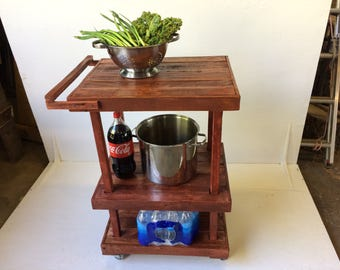 Rustic Bar or Kitchen Cart in Sedona Red
