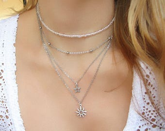 Sun Necklace Sun Jewelry Charm Choker Dainty Necklace Silver Necklace Layered Necklace