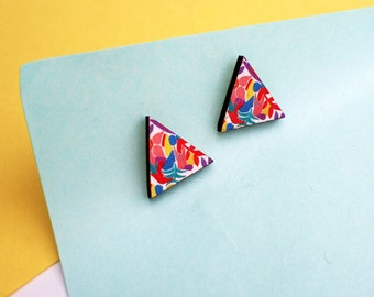 Geometric studs, flower studs, statement earrings, unusual earrings, plant earrings, unique jewelry, unique gifts, flowers gifts, floral