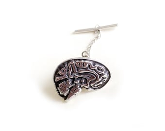 Limited Edition: SMART Brain Tie Tack in Solid Sterling Silver