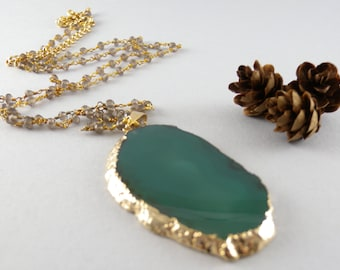 Teal Green Agate Geode Slice Stone Necklace in Gold and Smoky Quartz Stone Chain