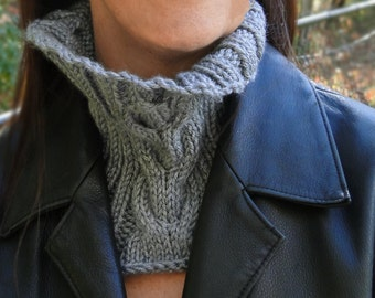 Gray Cowl Neck Warmer