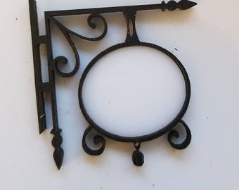 Miniature Dollhouse wrought iron style make your own hanging sign blank 1:12 scale