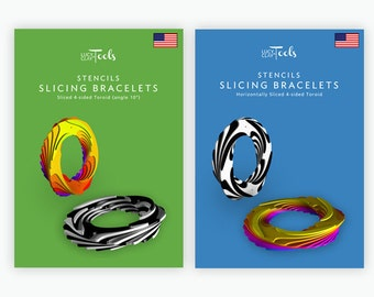 Special Deal! Stencils - Slicing bracelets: Horizontally Sliced 4-sided Toroid & Sliced 4-sided Toroid (angle 10)