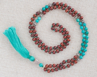 Speak your Truth Mala - Tibetan Turquoise, Sandalwood and Silver Sterling