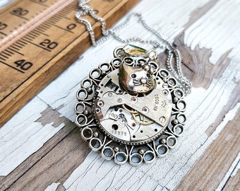 Steampunk Cat Necklace Pendant -Watch Part Necklaces- Amazing jewelry Gifts for any Kitten lover, Vetenerian Girl - Catwoman Cat Gift