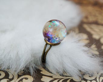 Magic Crystal Ball Ring - Holographic Purple with Adjustable Antique Bronze Base Iridescent Moonchild Opal Witchy Alternative Fortune Teller
