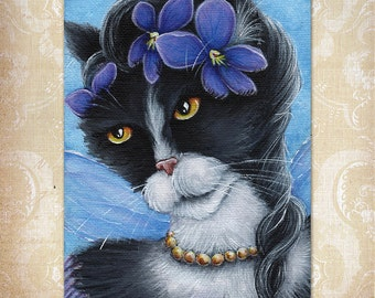 Violet Fairy Cat Flower Fantasy Art 5x7 Fine Art Reproduction Print