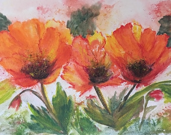 Orange Poppies Mixed Media Painting