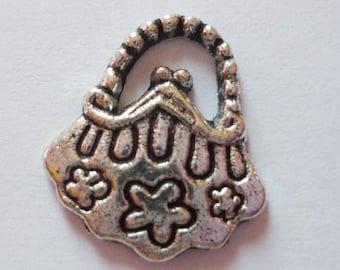 10 x silver handbag - colored metal charms