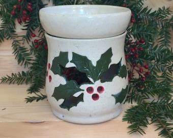 Holly Berry Oil Warmer Tart Burner handmade pottery Christmas